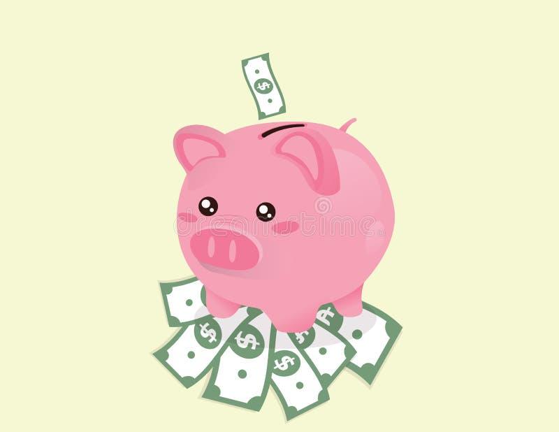 Piggy Querneigung auf Dollar stock abbildung