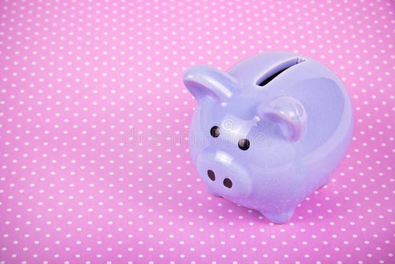Piggy Querneigung auf rosafarbenem Hintergrund Kleines Schwein Spielzeugschwein Schweinjahrsymbol lizenzfreie stockfotografie
