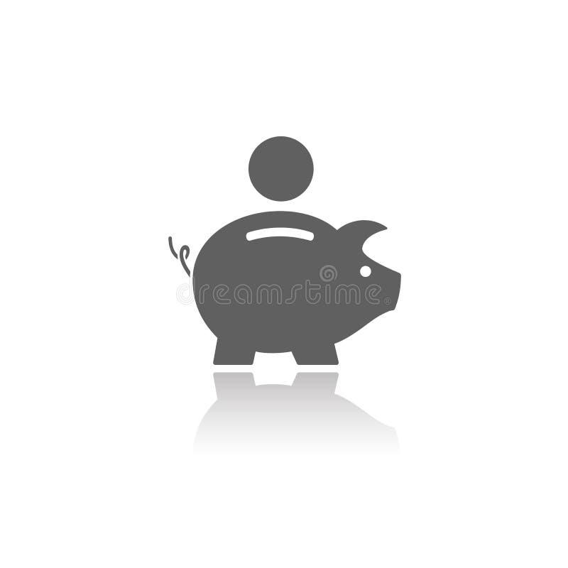 Piggy Querneigung-Ikone lizenzfreie abbildung