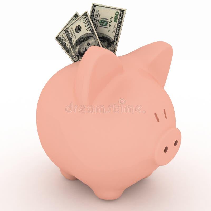 Piggy Querneigung mit einem Bündel Geld vektor abbildung