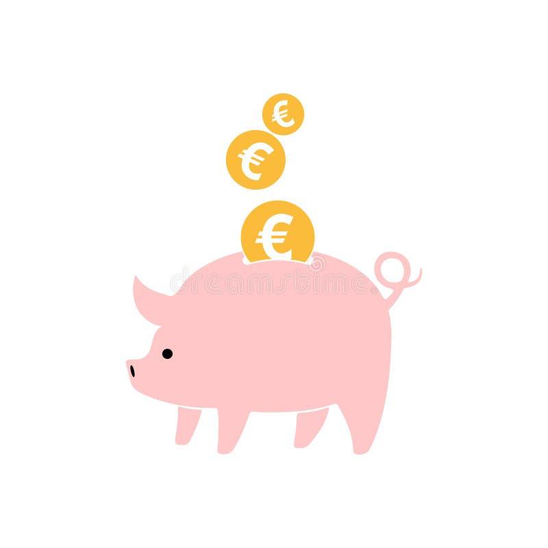 Piggy Querneigung mit fallenden Münzen Auch im corel abgehobenen Betrag stock abbildung