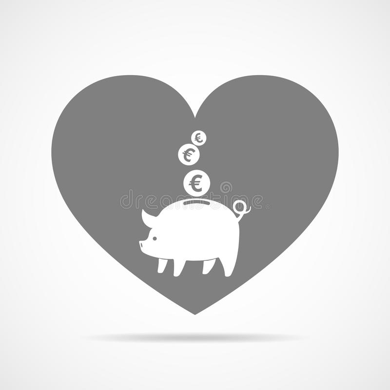 Piggy Querneigung mit fallenden Münzen Auch im corel abgehobenen Betrag vektor abbildung