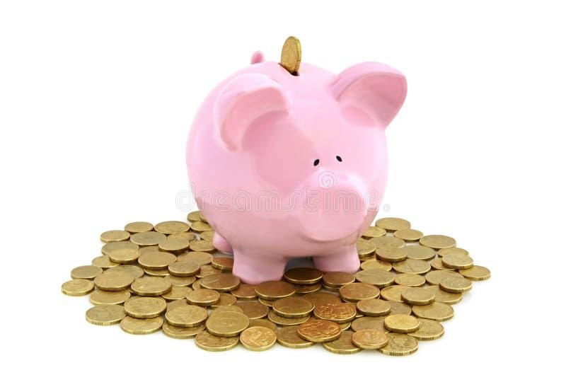 Piggy Querneigung mit goldenen Münzen stockfotografie