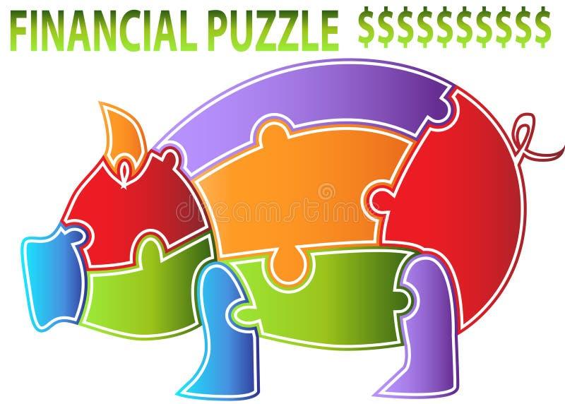 Piggy Querneigung-Puzzlespiel vektor abbildung