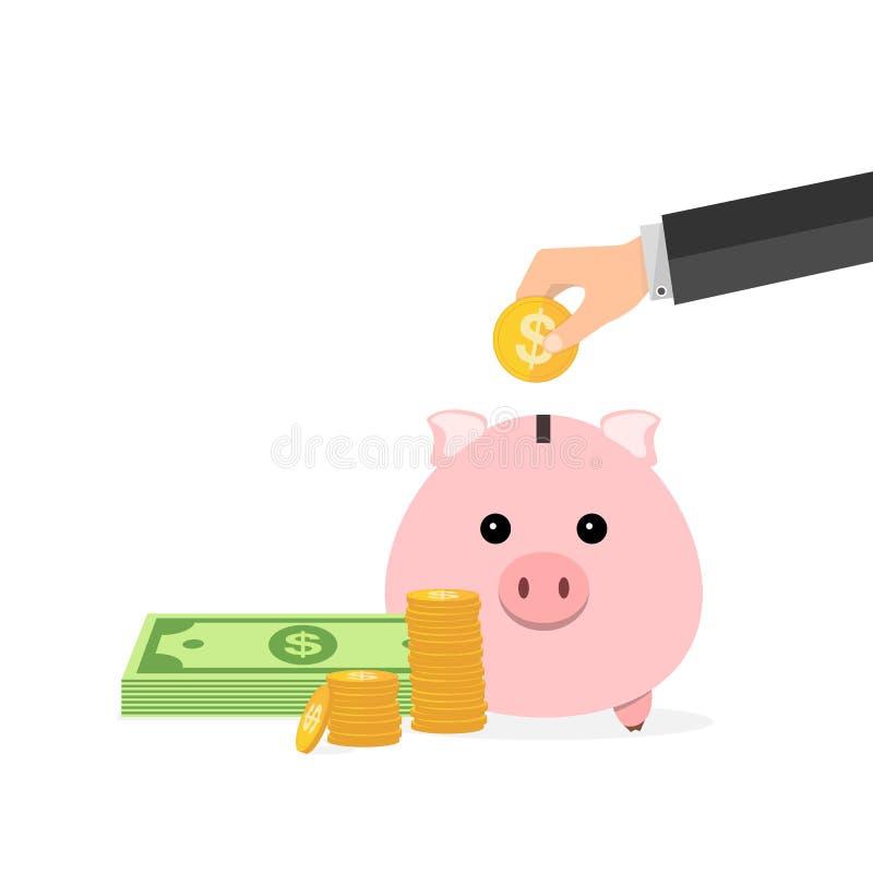 Piggy Querneigung und Hand mit Münze Auch im corel abgehobenen Betrag lizenzfreie abbildung