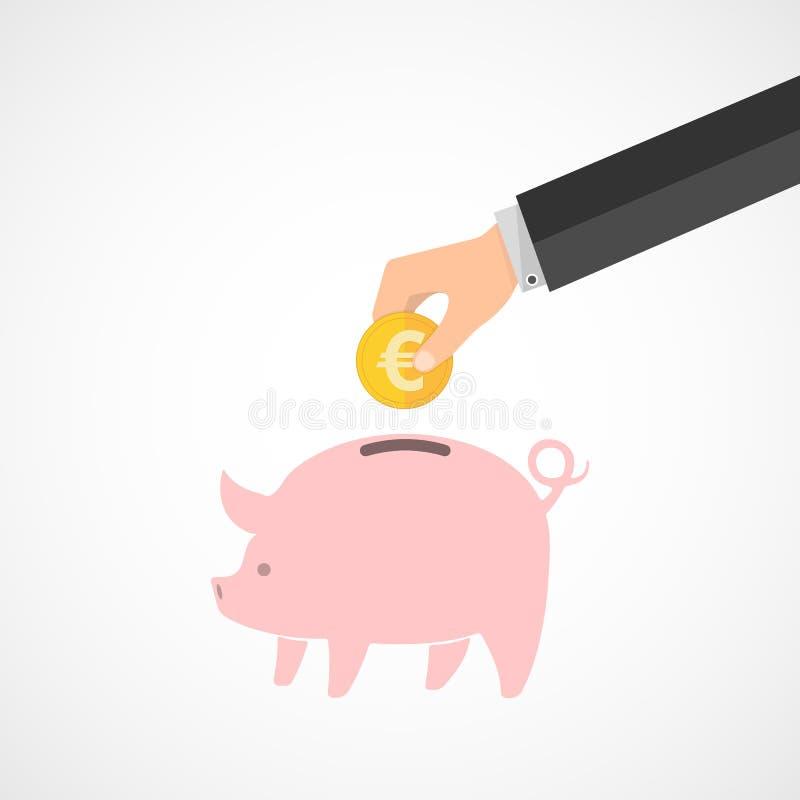 Piggy Querneigung und Hand mit Münze Auch im corel abgehobenen Betrag stock abbildung