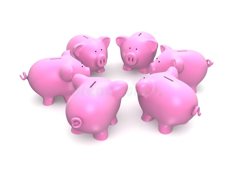 Piggy Querneigungen lizenzfreie abbildung