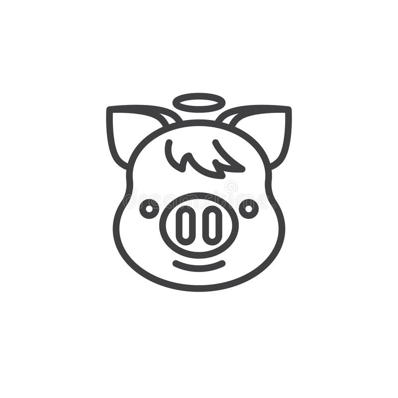 Piggy Smiling Face With Halo Emoji line icon. Linear style sign for mobile concept and web design. Angel piggy face emoticon outline vector icon. New year Pig vector illustration