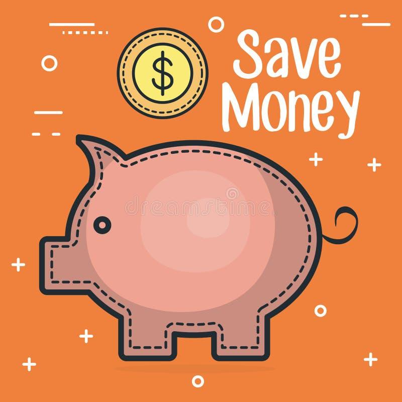 Piggy spara pengar med mynt vektor illustrationer