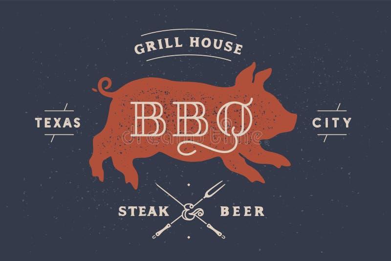 Piggy svin, griskött Tappningetikett, logo, klistermärke, affisch för köttrestaurang vektor illustrationer