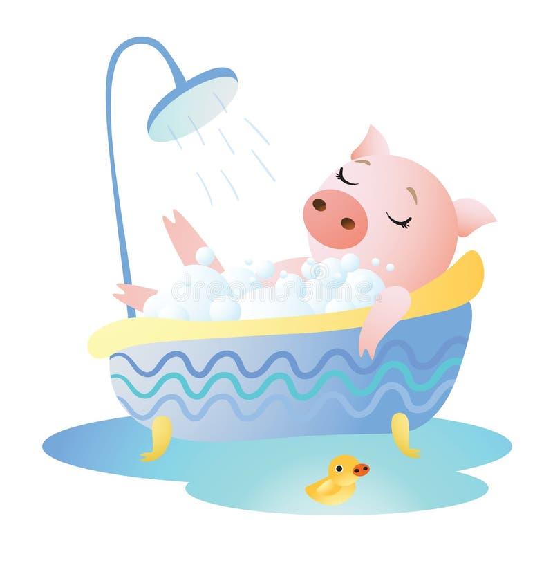 Piggy ta ett bad med skum- och gummianden royaltyfri illustrationer