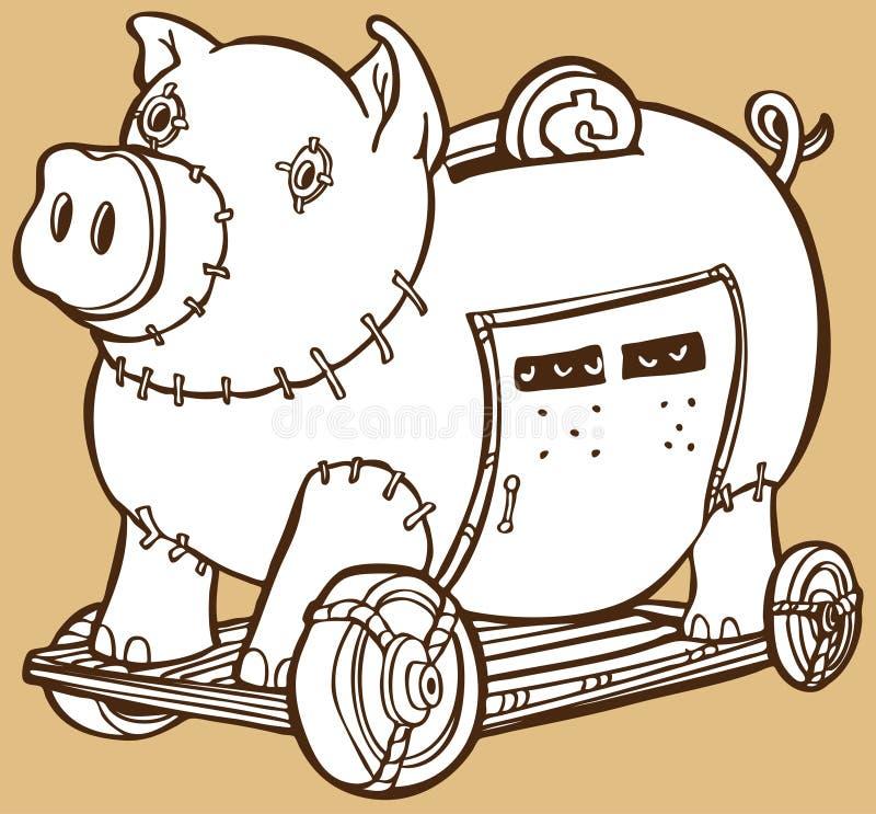 piggy trojan för grupphäst royaltyfri illustrationer