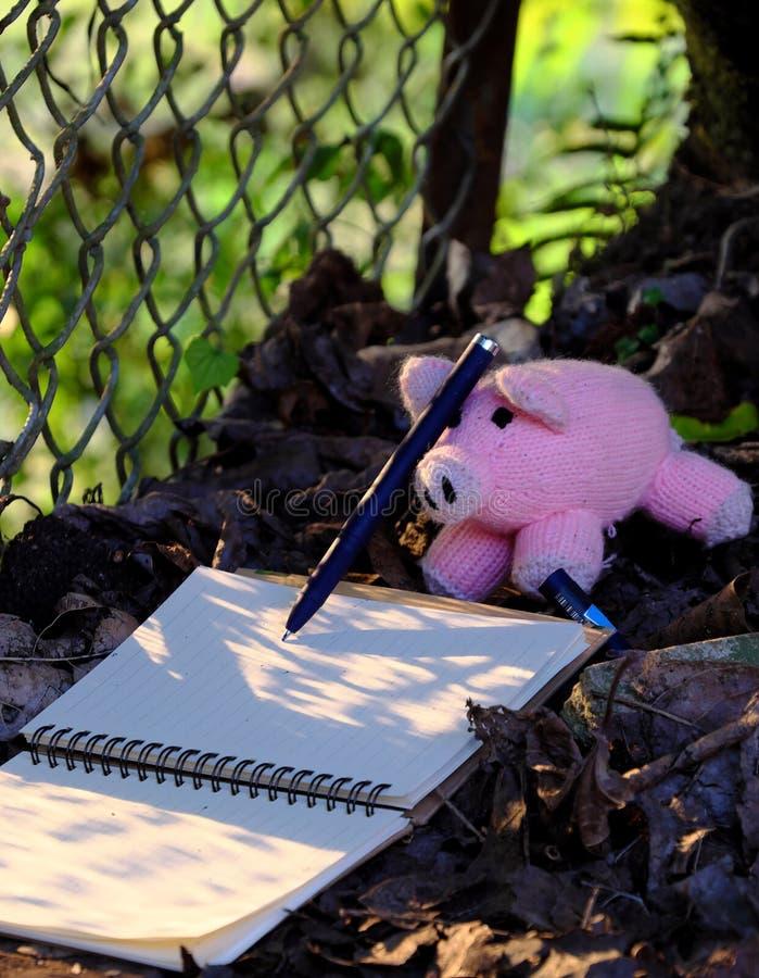Piggy woolen rosa Schweinschreibpapier, fallendes Blatt mit gelbem Sonnenunterganglicht lizenzfreie stockfotos