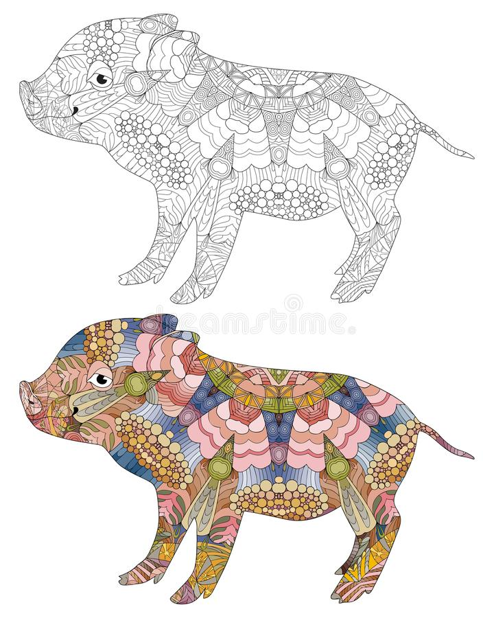 Zentangle stylized pig. Hand drawn decorative vector illustration stock illustration