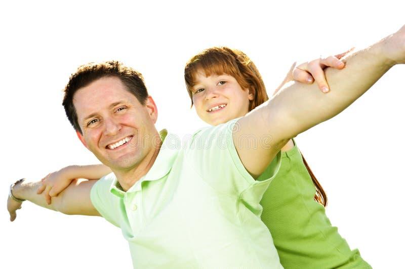 piggyback отца дочи стоковая фотография rf