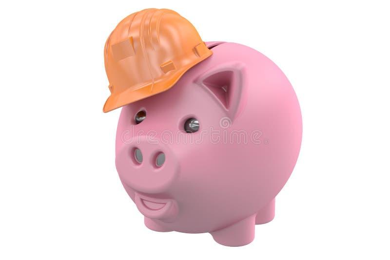 Piggybank佩带的建筑盔甲 库存例证