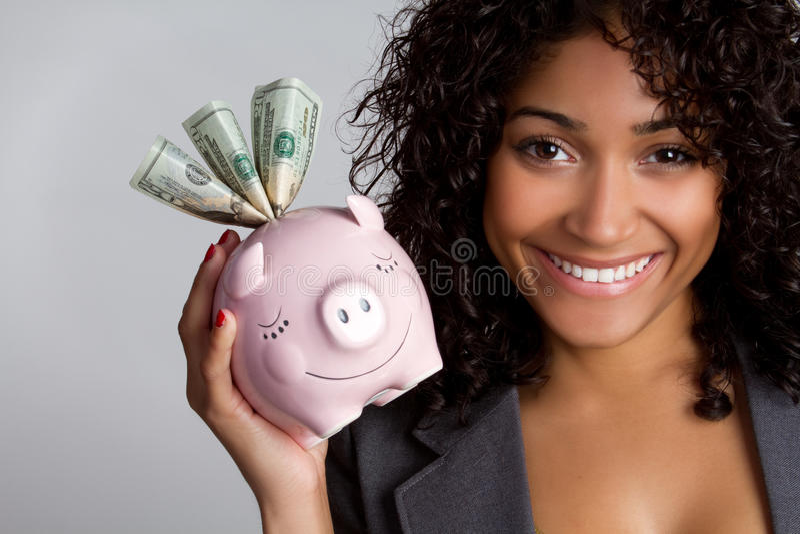 piggybank妇女 免版税库存图片