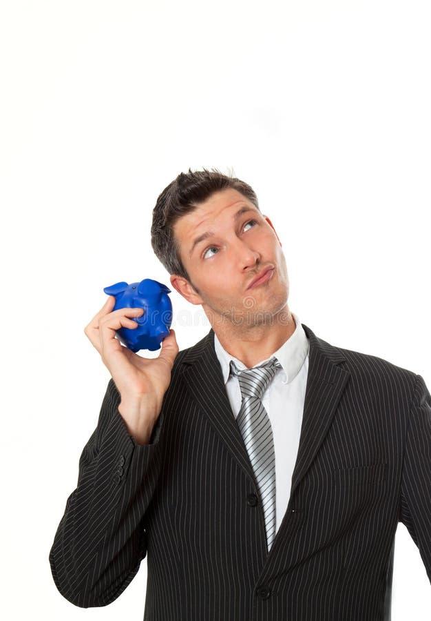 piggybank бизнесмена советуя с стоковые изображения