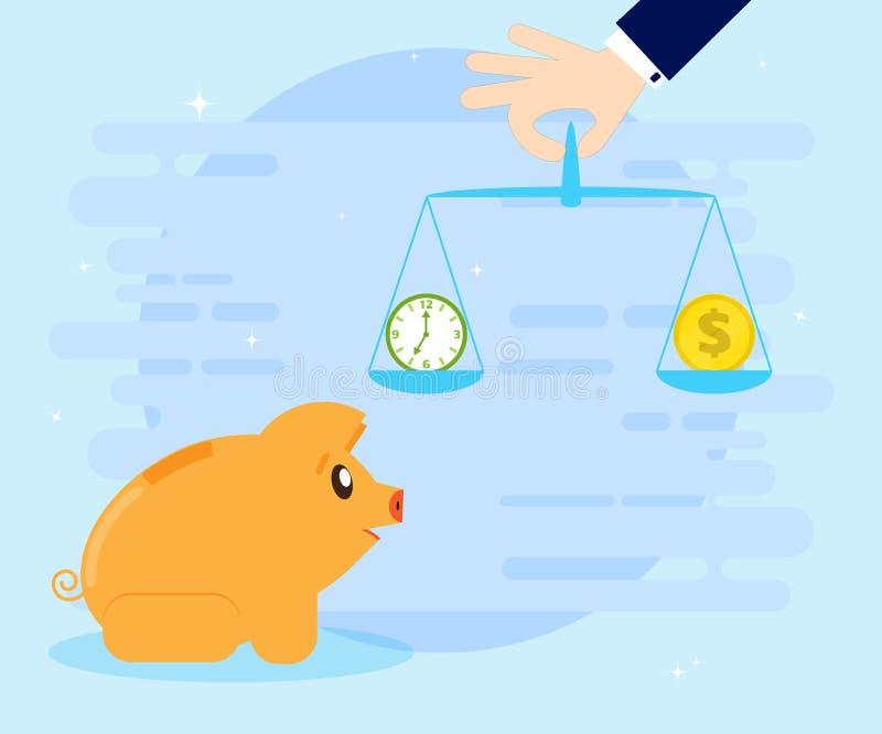 Piggybank свиньи принимая решениее между временем или деньгами, временем концепция денег балансируя время дег Плоский стиль иллюстрация вектора