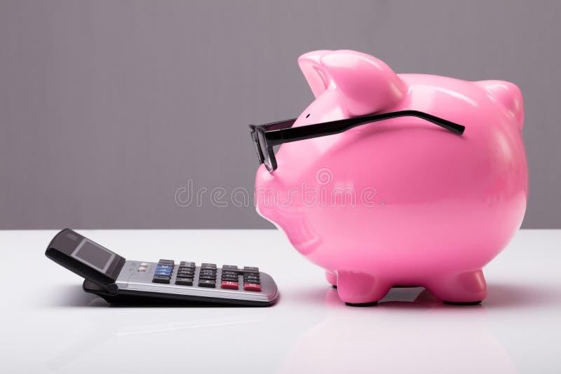 Piggybank с eyeglasses и калькулятором стоковое изображение