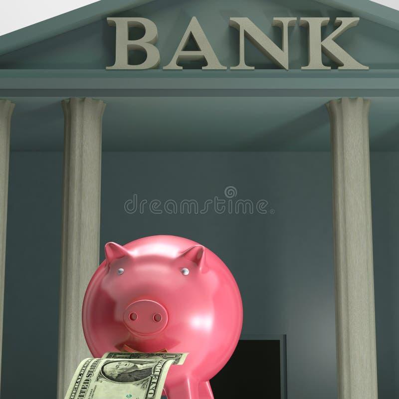 Piggybank Auf Der Bank, Die Sicherheits-Einsparung Zeigt Lizenzfreie Stockfotografie