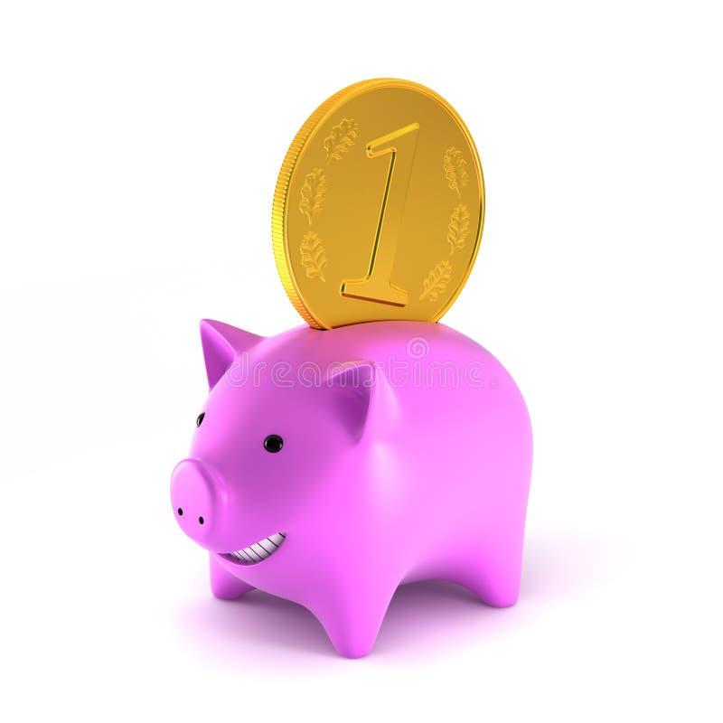 Download Piggybank with big coin stock illustration. Illustration of render - 26186371