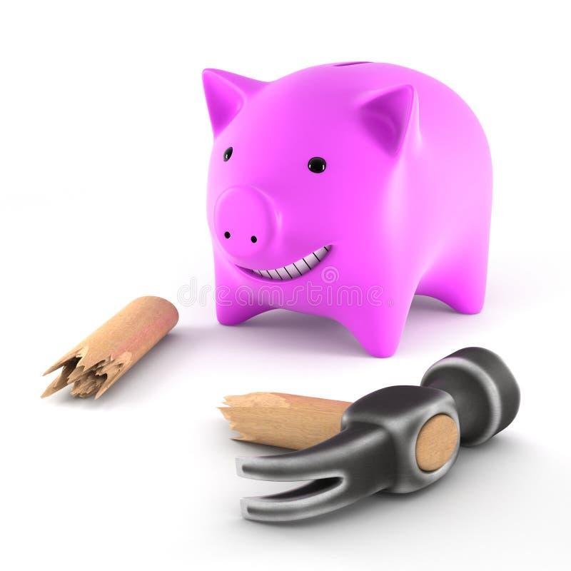 Piggybank With Broken Hammer Stock Photography