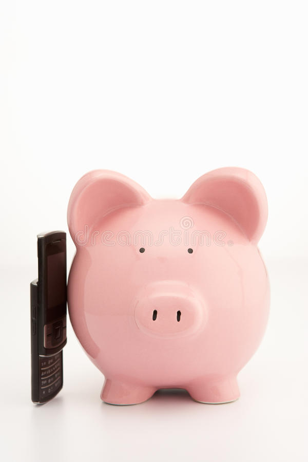 Download Piggybank and cellphone stock photo. Image of people - 21591818