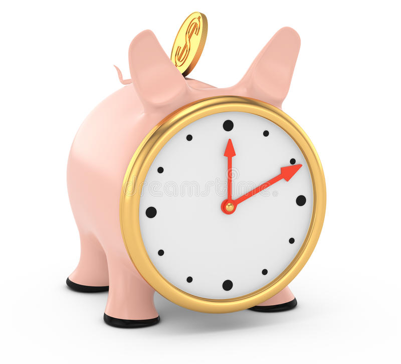 Piggybank With Clock Face Royalty Free Stock Image