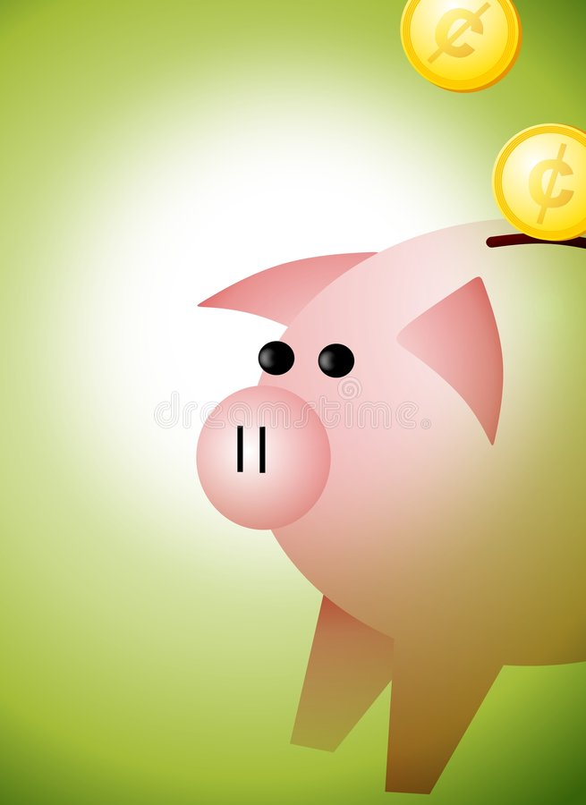 Piggybank With Coins Background