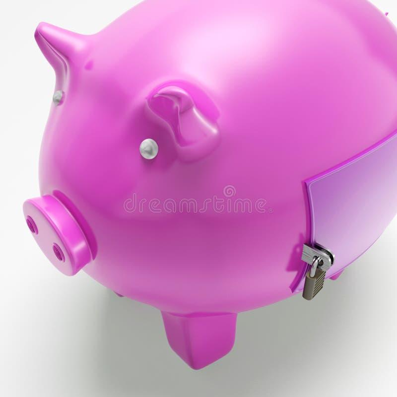 Piggybank Com Mostras Fechados Da Porta Fixou O Dinheiro Foto de Stock Royalty Free