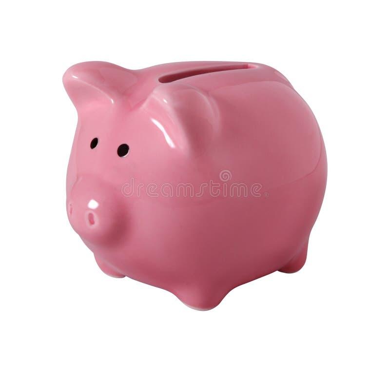 Piggybank die op wit met het knippen van weg wordt geïsoleerd royalty-vrije stock foto's