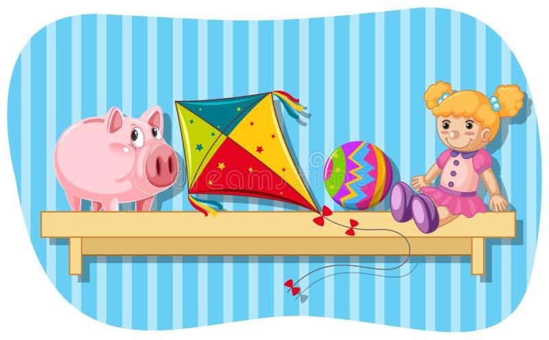 Piggybank en ander speelgoed op houten plank vector illustratie