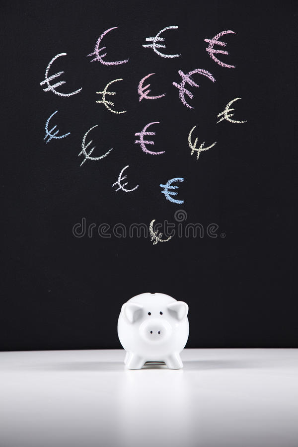 Piggybank And The Euro Currency Royalty Free Stock Photography