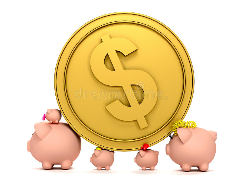 Download Piggybank Family With A Coin Stock Illustration - Image: 12001843