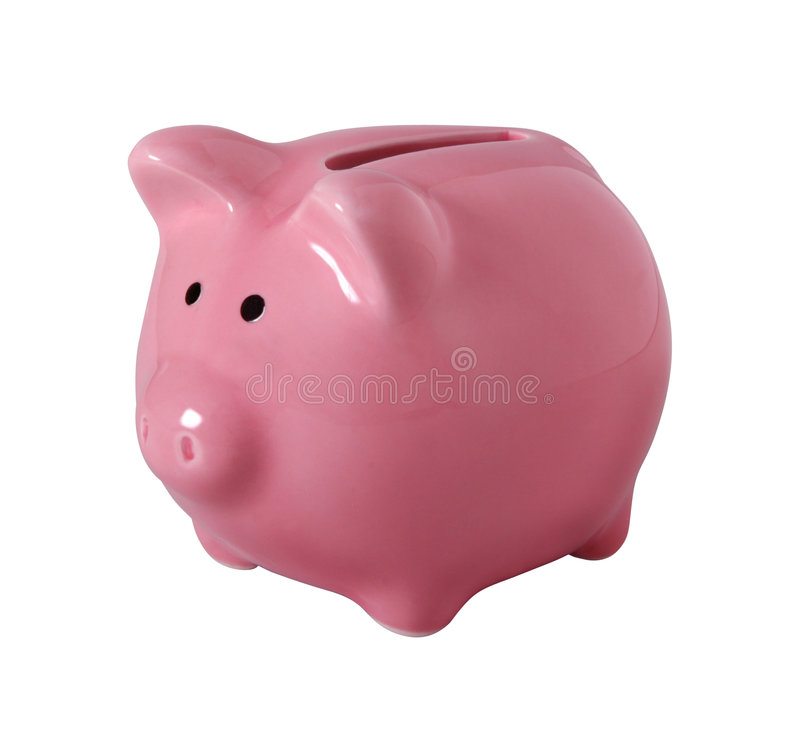 Piggybank isolated on white with clipping path royalty free stock photos