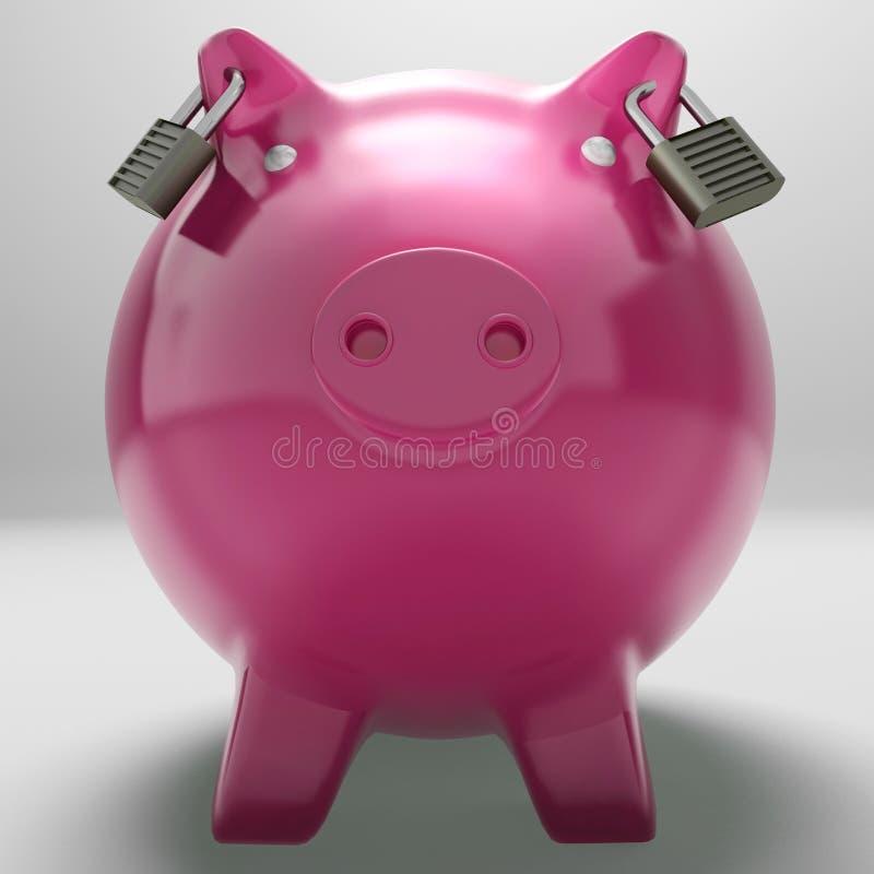 Piggybank met Gesloten Oren die Monetaire Bescherming tonen vector illustratie