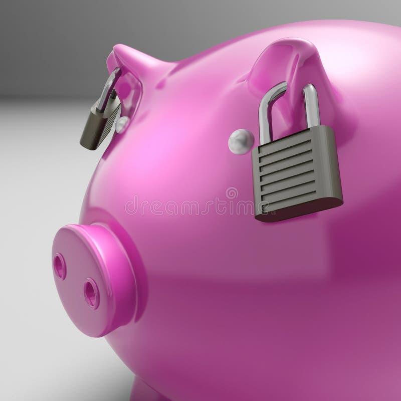 Piggybank met Gesloten Oren toont de Veiligheid van Besparingen stock illustratie