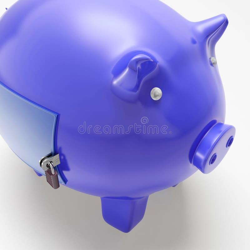 Piggybank Mit Der Geschlossenen Tür, Die Finanzielle Sicherheit Zeigt Lizenzfreie Stockfotos
