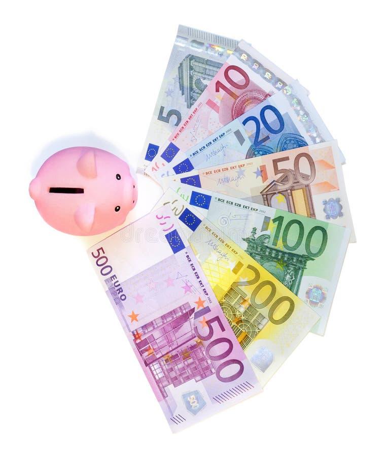 Piggybank op euro bankbiljetten royalty-vrije stock afbeelding