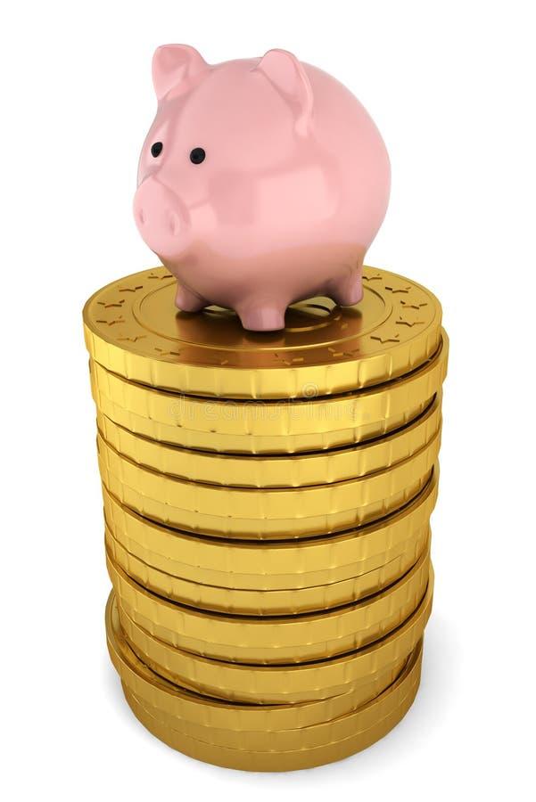 Piggybank På Bunten Av Guld- Mynt Stock Illustrationer