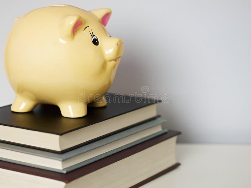 Piggybank sul mucchio dei libri fotografie stock