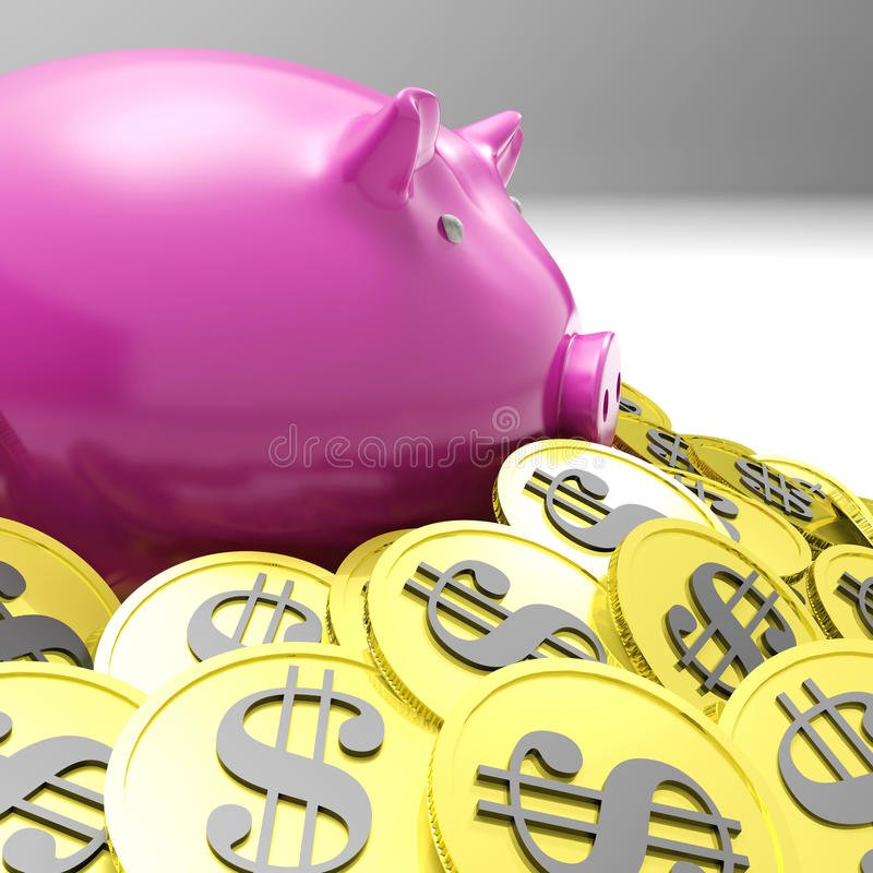 Download Piggybank Surrounded In Coins Showing American Wealth Stock Illustration - Illustration: 32074028