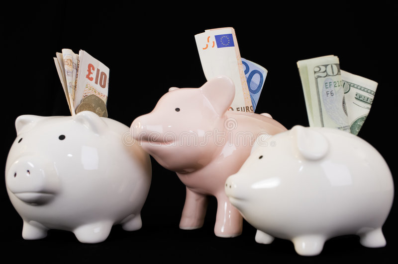 Download Piggybank With Various Currency Stock Photo - Image: 6702214
