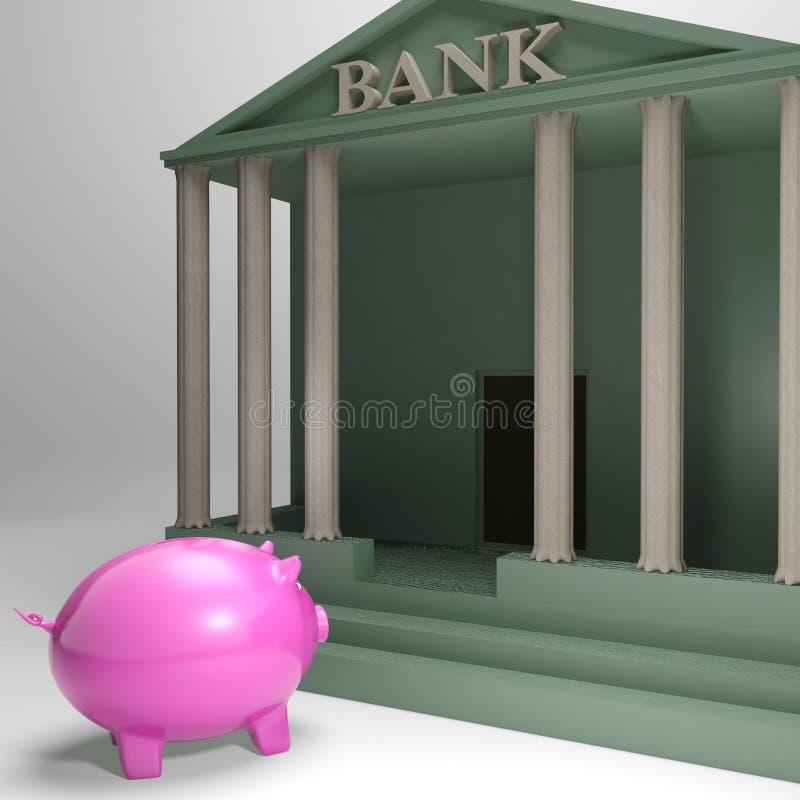 Piggybank Wchodzić do bank Pokazuje pieniądze pożyczkę ilustracji