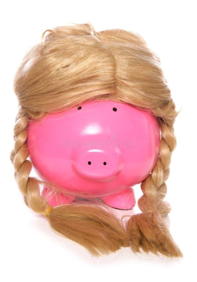 Download Piggybank Wearing A Girls Wig Stock Photo - Image of change, studio: 33669702