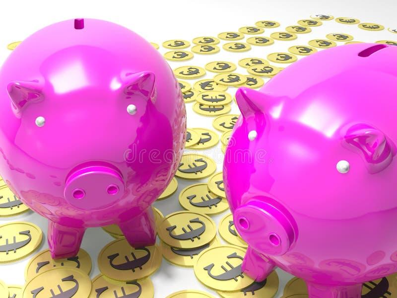 Piggybanks на монетках евро показывая европейские сбережения иллюстрация вектора