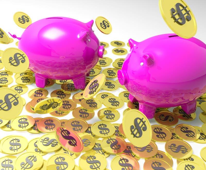 Download Piggybanks On Coins Showing American Banking Stock Illustration - Image: 32074981