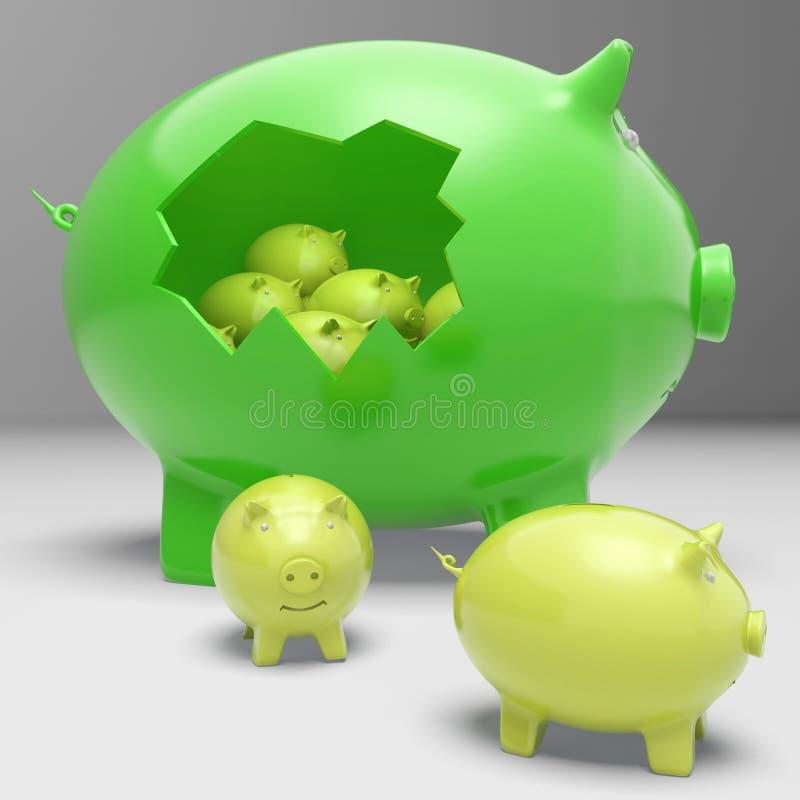Piggybanks Inside Piggybank Shows Financial Break Royalty Free Stock Images