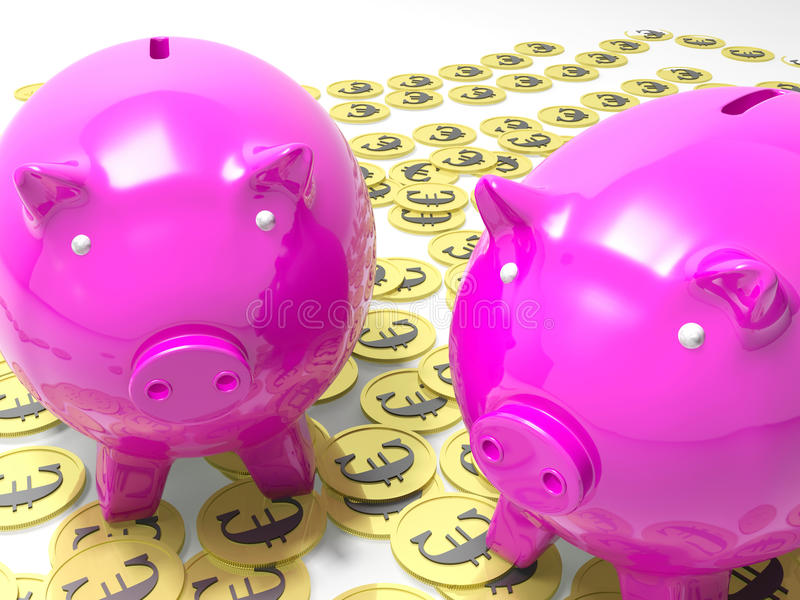 Piggybanks Na euro monetach Pokazuje Europejskich Savings ilustracja wektor